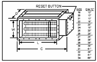 Military Spec Duct Heater Dimension Chart